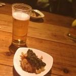 O寿し1 - 西荻食べおさめツアー。一番好きなO寿司1。 里芋のコロッケに鮑の肝のソース。おいし♡