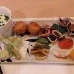 和食 瑞木 - ほうれんそうの茶わん蒸し・いもの甘辛煮・つぶ貝・いか・