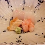 和食 瑞木 - お造り(北海道の海老やまつぶ貝・三浦のひらめいか