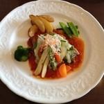 リヨンの森 - リヨンの森ランチ 茶美豚のバジルペーストとチーズのせローストトマトソース^ ^