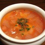 17773481 - お肉ランチ<限定15食> 980円 のベーコンといろいろ野菜のミネストローネ