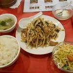 長安刀削麺 - サービスランチ レバニラ定食