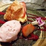 博仏ダイニング キノシタ - 苺のミルフィーユ・・パイ生地も美味しい品。デザートも手抜きなしですね^^