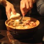 黒猫夜 - 自家製中国ハム、腸詰、ヨッペンの土鍋ご飯