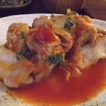 17788952 - 白身魚のチーズ入り具沢山トマトソース煮込み