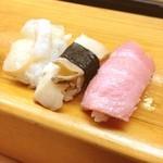 新寿司 - マグロ(大トロ)、アワビ、ホタテ♪