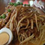 はせ家 - 1)鉄板スパゲッティ・特製ミートソース大盛り