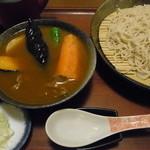 そば処寿庵 - 素揚げ野菜と、コシのある蕎麦は、スープカレーに合うかも!