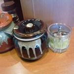 17842972 - 卓上。おろしショウガ、フライドオニオン粉、ラー油、酢。