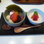 福茶 - 選べるスイーツ(桜あんみつ&イチゴのクリームチーズ