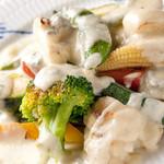 ランコントル - ワインに合うお料理をご用意・・温製野菜にブルーチーズのソースを
