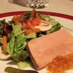 レストラン香味屋 - フォア・グラのテリーヌ サラダ添え のアップ