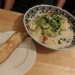 スパパ - えびとミックス野菜のクリームスープの多めはこんな感じ