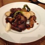 ラキュイエール - 国産豚肉の柔らか煮のカリカリ焼き 葉玉ねぎのフリット添え1,200円       2013年3月