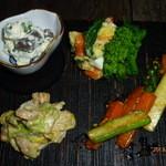 17929967 - 惣菜盛り合せ(菜の花ポテトサラダ、ニンジンとアスパラのきんぴら、春キャベツのくるみと胡麻和え、グリーンピースの白和え)