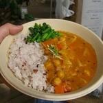 草 - 春キャベツとニンジン、ひよこ豆のカレー