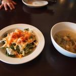 17952602 - ランチセットのサラダとスープ。手作りドレッシングは美味!