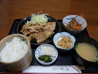 割烹 たかしま - 2013.3.21)豚肉生姜焼き定食(800円)