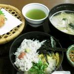 17955234 - しらす定食(しらす丼小、うどん小、ジャコカツ)