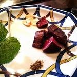 横浜うかい亭 - フィレステーキ 黒七味・にんにくチップ・わさび葉添え