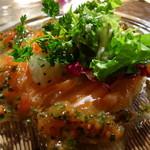 ルモンドガーデン - ノルウェー産サーモンのマリネと糸島野菜のサラダ エシャロットと香草のヴェネグリット
