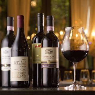 常時約50種のボトルワインをご用意しております。