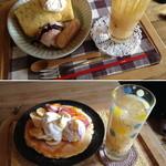 わぼん - CAKE set 800円(写真上)とパンケーキ750円+ももジュース400円(写真下)2013.3.26撮影