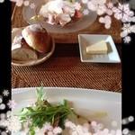 18043035 - 前菜                       ①福井ポーク自家製ロースハム                       ②カンパチのカルパッチョとクスクス