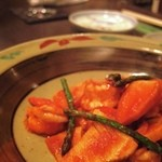 神戸鉄板焼 おくの - 竹の子とエビのトマトソース