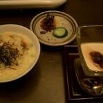 Japanese restaurant chihiro - 雑炊の前のお鍋の写真は撮れてません!!!雑炊・香の物、、、和三盆のパンナコッタ。香の物は少し食べた後に撮影。雑炊は仲居さんが作って下さいました。