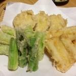 18068432 - アスパラ、うなぎの天ぷら