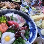 でん - 料理写真:飲み放題120分付★お刺身特盛のおススメ5000円コースです♪