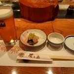 寿し丸 - 料理写真:生ビール & 付き出し