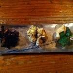18095868 - ヒジキの炒り煮 さつまいもの辛子味噌和え オクラ