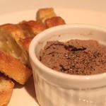 高田馬場 イタリア料理 フラットリア - 鶏白レバーのペースト ガーリック トースト添え のアップ