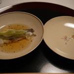 18122339 - 先附:若鮎焼浸し蕗 木の芽ゼリー酢花弁うど