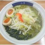 18130119 - ミドリラーメン\700 味玉 \100 見事に緑色!食べてみると味自体はスープスパっぽい感じ。