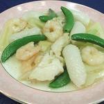 うすけぼー - イカと海老の炒め