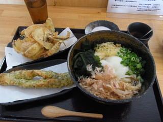 ぶつをのうどん - 温玉ぶっかけうどん(冷、560円)と天ぷらたち。この酌み交わせだと20円引きになります