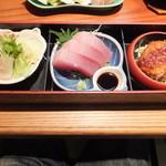 桂城 - 熊野那智勝浦御膳をいただきました☆ マグロの刺身、カツ、生ハムサラダです。
