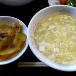 好味苑 - 好味苑 @本蓮沼 ライスセットの溶き卵スープと搾菜