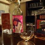Bar 羽月 - ボウモア23y「テンプテーション」。ハーフショットで体験できる。名に恥じない香り高さ!