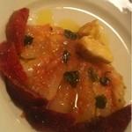 イル・ラメリーノ - ボタンエビのシチリア風カルパッチョ ブラッドオレンジを添えて
