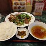 茨珍麺飯食堂 - ニラレバ炒め定食(ライス大盛)(870円)