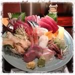新助 - 昨夜食べた刺身盛合わせ(ベカ舟盛り)! これで1,500円は安くない?(*^_^*)