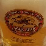 大鳳餃子 - 生ビール。ラガーのジョッキですが中身は一番搾り。