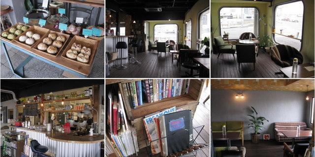 NEU! - カフェ NEU! (ノイ)の店内。パンの販売もあります。改装の過程がわかる「NEU!ができるまで」のアルバムもあります。2013.4.3撮影