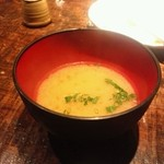あっさり串焼 ○座 - サービスの味噌汁
