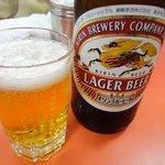 元祖長浜屋 - ビールはラーガー瓶が400円。屋台より安いです。