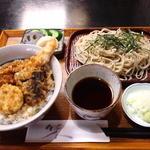 手打そば常陸屋 - そばと丼のセット 800円(2013.3月)